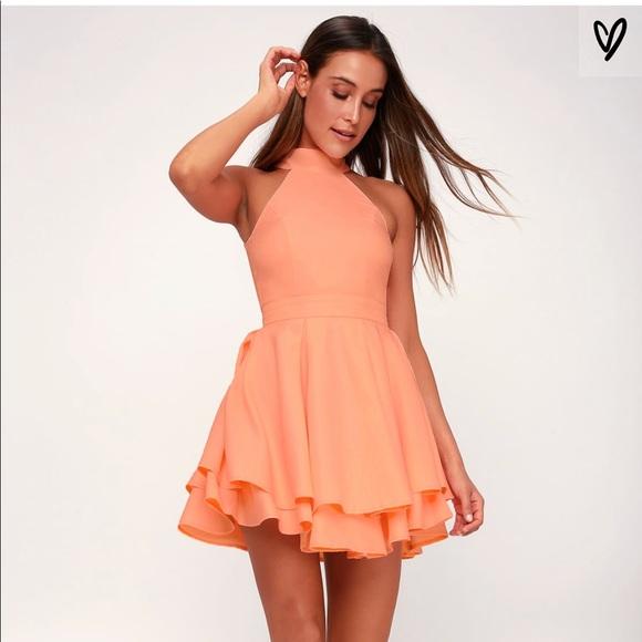 86d3bb4badd0 Lulu's Dresses   Bright Peach Colored Homecoming Dress   Poshmark